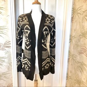 Dark grey and beige long sweater - Large